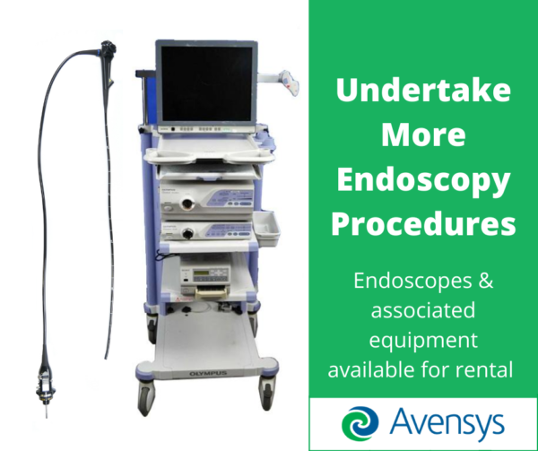Avensys engineers fixing and using endoscopy equipment for customers to rent and buy in periods of high demand